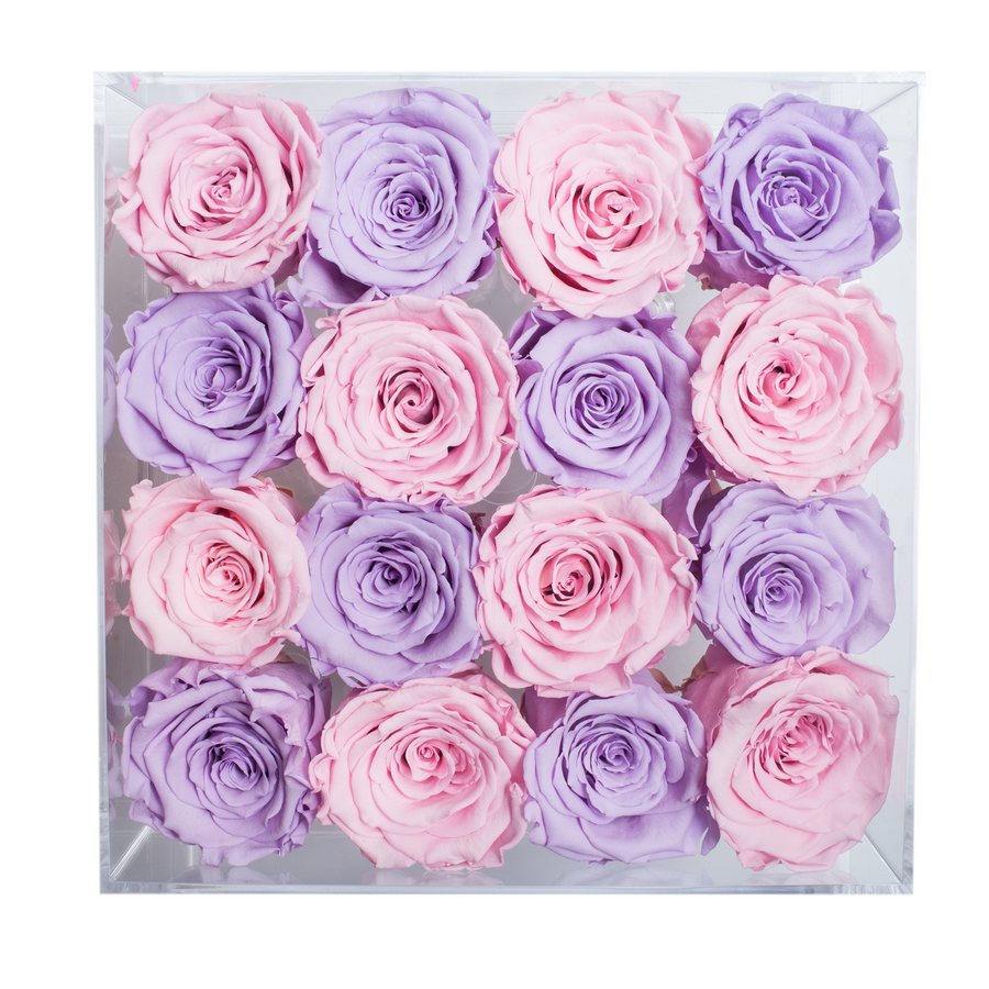 Light Pink and Light Purple Preserved Roses | Medium Acrylic Rose Box - The Only Roses