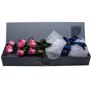 9 Long Stem Pink Preserved Roses Luxury Bouquet - The Only Roses