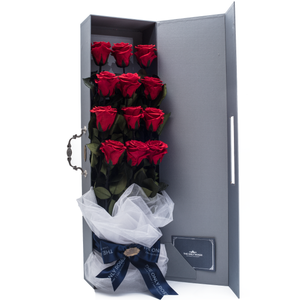 12 Long Stem Red Preserved Roses Luxury Bouquet - The Only Roses