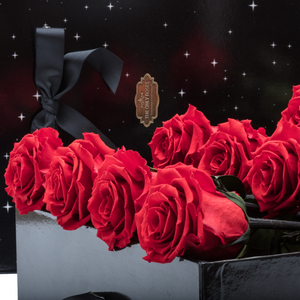 Sirius | 9 Long Stem Red Preserved Roses in Black Bouquet Box - The Only Roses