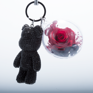 Red Preserved Rose | Black Crystal Rose Bear Keychain - The Only Roses