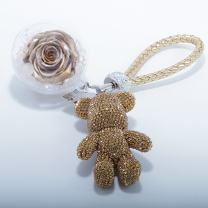 Gold Preserved Rose | Gold Crystal Rose Bear Keychain - The Only Roses