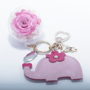 Pink Preserved Rose | Pink Elephant Keychain - The Only Roses