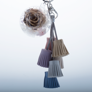 Gold Preserved Rose | Colorful Blush Tassel Keychain - The Only Roses