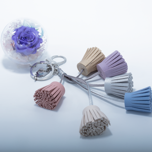 Purple Preserved Rose | Colorful Blush Tassel Keychain - The Only Roses