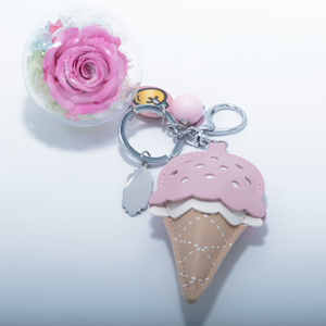 Pink Preserved Rose | Pink Ice Cream Cone Keychain - The Only Roses