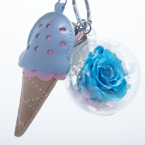 Blue Preserved Rose | Blue Ice Cream Cone Keychain - The Only Roses