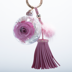 Pink Preserved Rose | Pink Blush Tassel and Fluffy Ball Keychain - The Only Roses