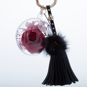 Red Preserved Rose | Black Blush Tassel and Fluffy Ball Keychain - The Only Roses