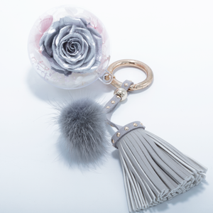 Silver Preserved Rose | Grey Blush Tassel and Fluffy Ball Keychain - The Only Roses
