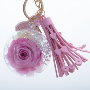 Pink Preserved Rose | Pink Blush Tassel Keychain - The Only Roses