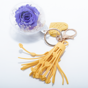 Purple Preserved Rose | Yellow Blush Tassel  Keychain - The Only Roses