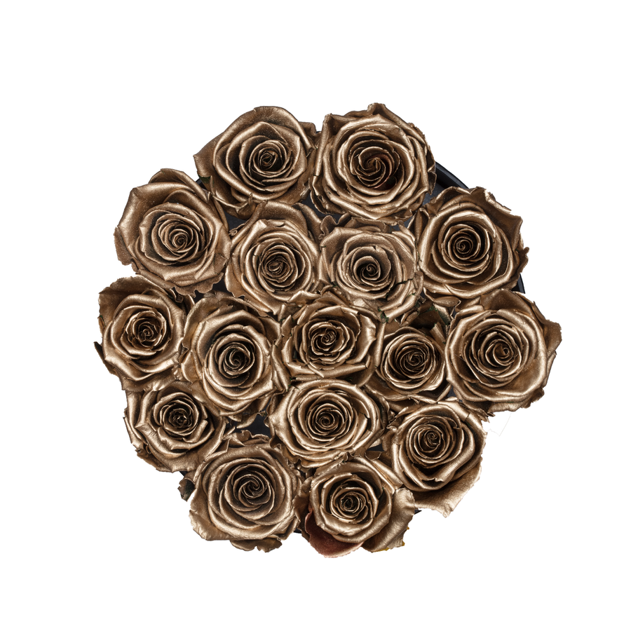 Gold Preserved Roses | Small Round Black Huggy Rose Box - The Only Roses