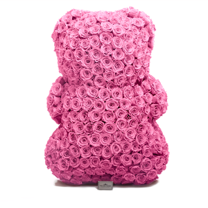 35 Inches Tall Giant Pink Preserved Rose Bear - The Only Roses
