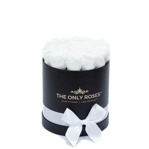 White Preserved Roses | Small Round Black Huggy Rose Box - The Only Roses