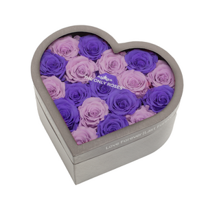 Purple & Light Purple Preserved Roses | Medium Heart Classic Grey Box - The Only Roses