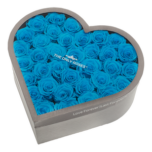Blue Preserved Roses | Large Heart Classic Grey Box - The Only Roses