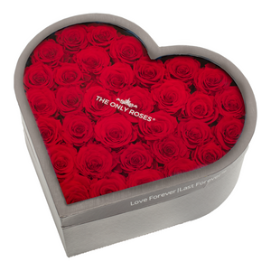 Red Preserved Roses | Large Heart Classic Grey Box - The Only Roses