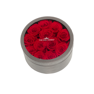 Red Preserved Roses | Small Round Classic Grey Box - The Only Roses
