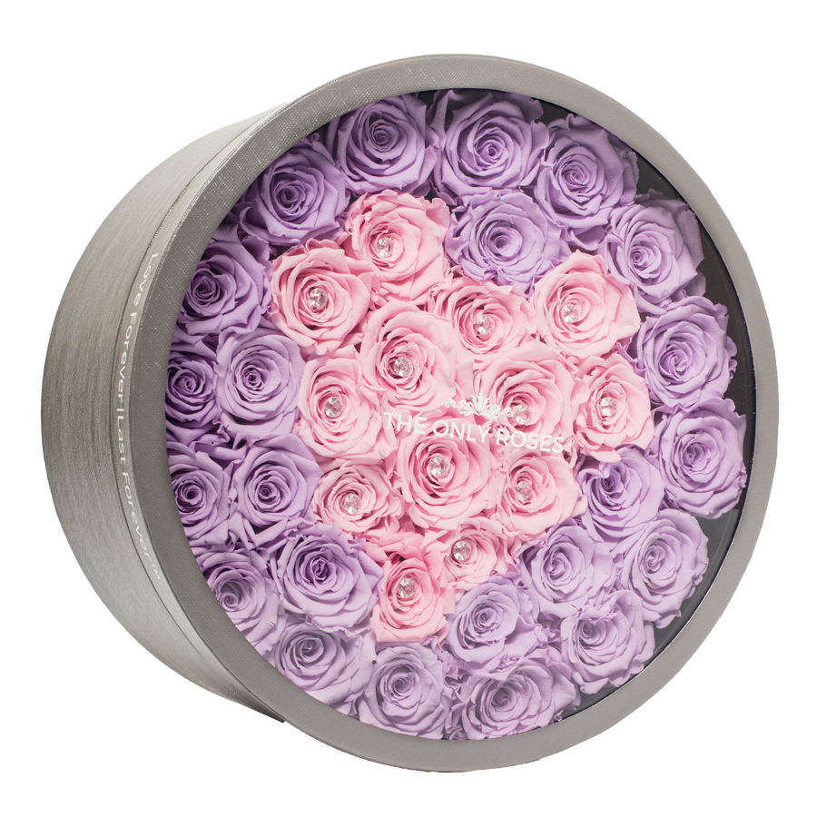 Pink Heart Preserved Roses | Large Round Classic Grey Box - The Only Roses