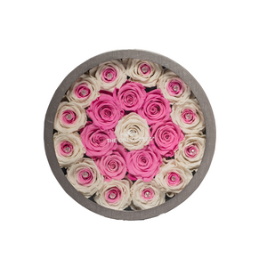 Pink & White Preserved Roses | Medium Round Classic Grey Box - The Only Roses