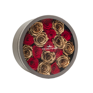 Gold & Red Preserved Roses | Medium Round Classic Grey Box - The Only Roses