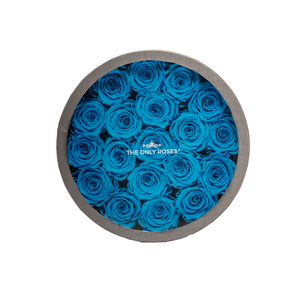 Blue Preserved Roses | Medium Round Classic Grey Box - The Only Roses