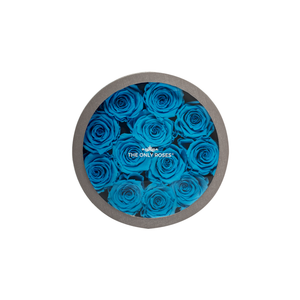 Blue Preserved Roses | Small Round Classic Grey Box - The Only Roses