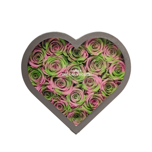 Spring Preserved Roses | Medium Heart Classic Grey Box - The Only Roses