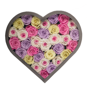 Candy Mix Preserved Roses | Large Heart Classic Grey Box - The Only Roses