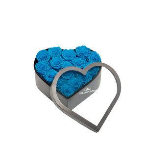 Blue Preserved Roses | Medium Heart Classic Grey Box - The Only Roses