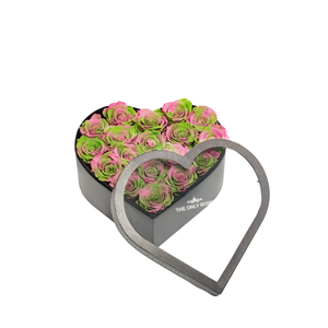 Pink and Green Mixed Preserved Roses | Medium Heart Classic Grey Box - The Only Roses