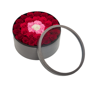 Fading Red Preserved Roses | Large Round Classic Grey Box - The Only Roses