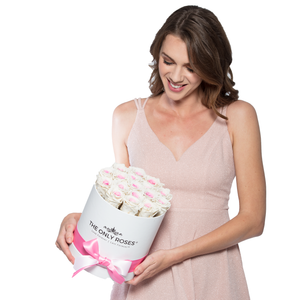 White & Pink Mix Preserved Roses | Small Round White Huggy Rose Box - The Only Roses