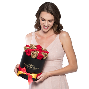 Gold & Red Mix Preserved Roses | Small Round Black Huggy Rose Box - The Only Roses