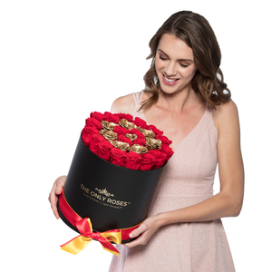 Red &Gold Circle Preserved Roses | Medium Round Black Huggy Rose Box - The Only Roses