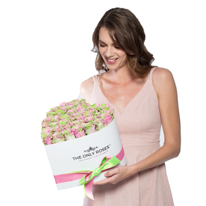 Pink and Green Preserved Roses | Heart White Huggy Rose Box - The Only Roses