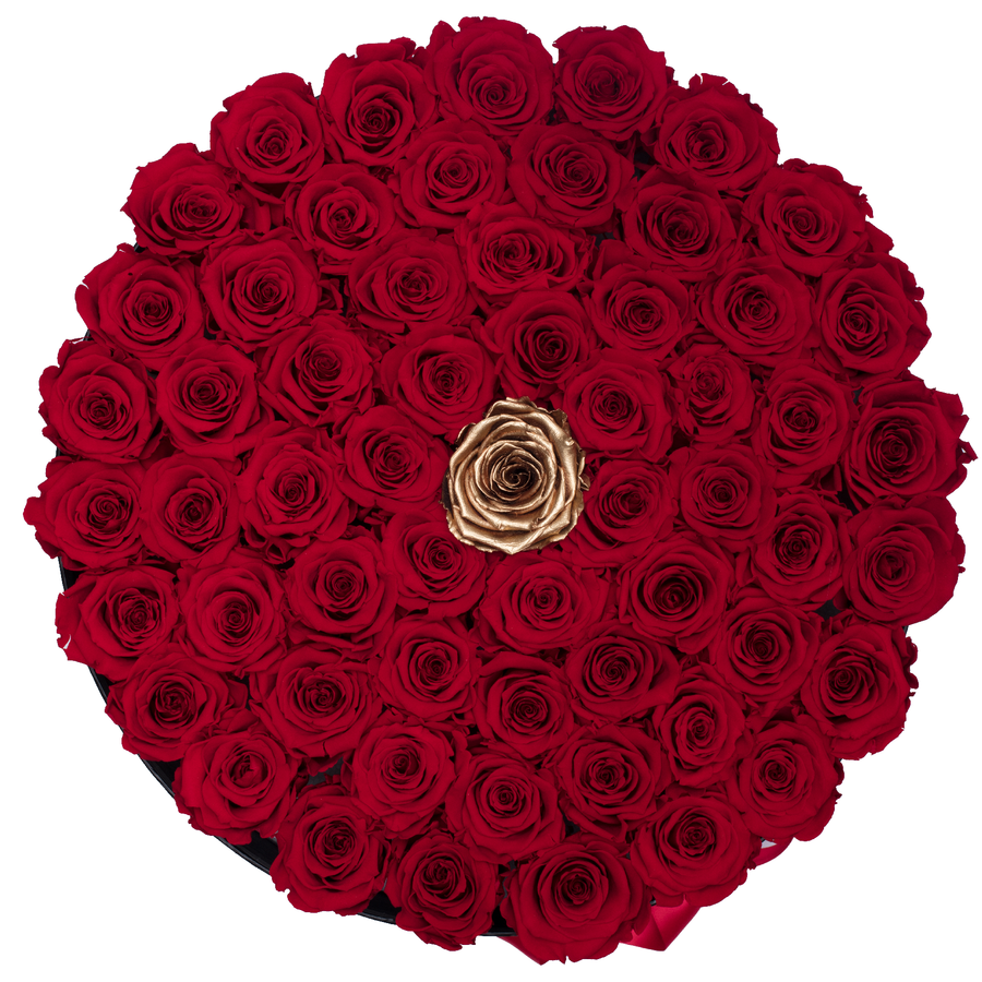 Red & Gold Preserved Roses | Large Round Black Huggy Rose Box - The Only Roses