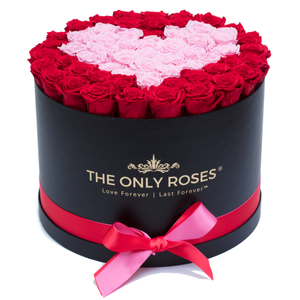 Red and Light Pink Heart Preserved Roses | Large Round Black Huggy Rose Box - The Only Roses