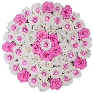 Special Pink and & Preserved Roses | Large Round White Huggy Rose Box - The Only Roses