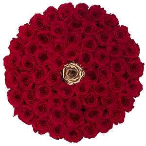 Red & Gold Preserved Roses | Large Round White Huggy Rose Box - The Only Roses