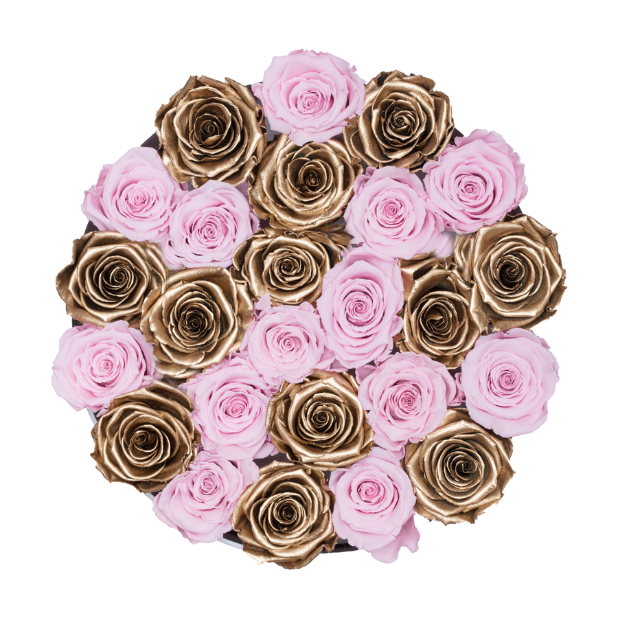 Pink & Gold Preserved Roses | Medium Round White Huggy Rose Box - The Only Roses