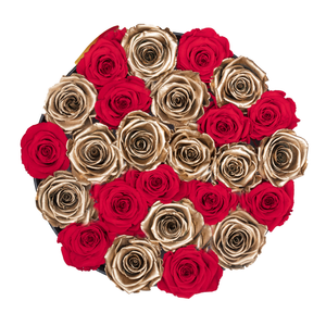 Red & Gold Mix Preserved Roses | Medium Round Black Huggy Rose Box - The Only Roses