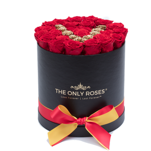 "Gold Letter "" V "" Preserved Roses 