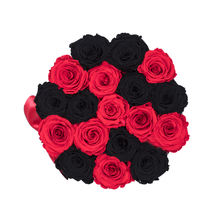 Black & Red Preserved Roses | Small Round Black Huggy Rose Box - The Only Roses
