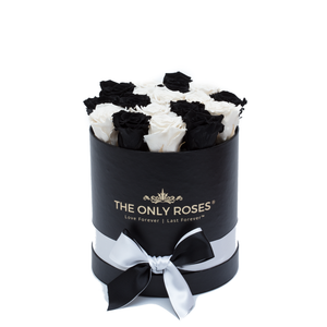 Black & White Preserved Roses | Small Round Black Huggy Rose Box - The Only Roses