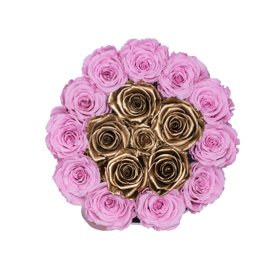 Pink & Gold Preserved Roses | Small Round White Huggy Rose Box - The Only Roses