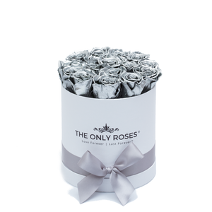 Silver Preserved Roses | Small Round White Huggy Rose Box - The Only Roses