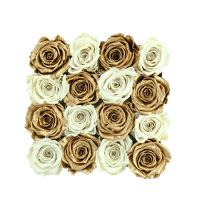 White and Gold Preserved Roses | Square Black Huggy Rose Box - The Only Roses