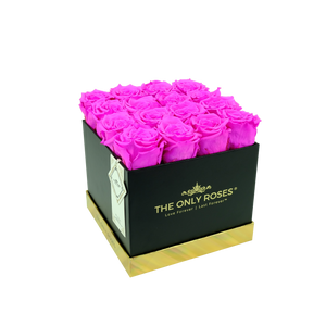 Hot Pink Preserved Roses | Square Black Huggy Rose Box - The Only Roses